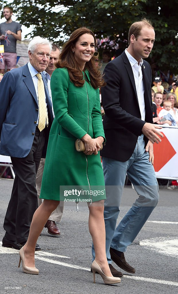 Prince William, Duke of Cambridge and Catherine, Duchess of Cambridge visit a Yorkshire village celebrating the Stage 1 route of the Tour de France on July 05, 2014 in West Tanfield, England.