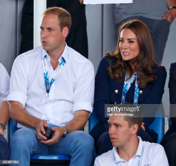 Prince William Duke of Cambridge and Catherine Duchess of Cambridge watch the Wales v Scotland Hockey match at the Glasgow National Hockey Centre...