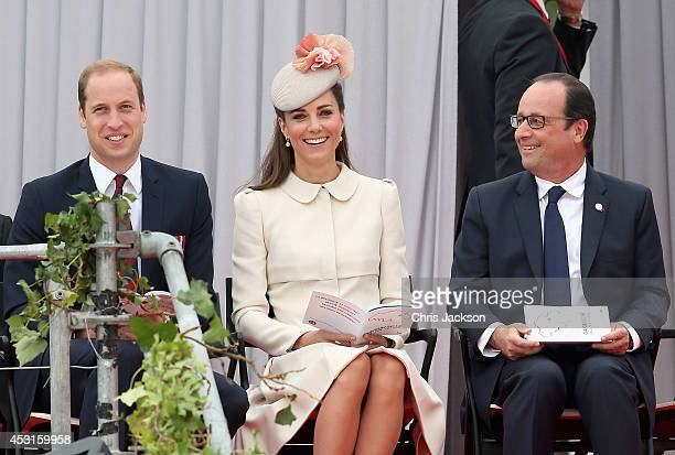 Prince William Duke of Cambridge and Catherine Duchess of Cambridge share a joke with Francois Hollande as they attend a WW1 100 Years Commomoration...