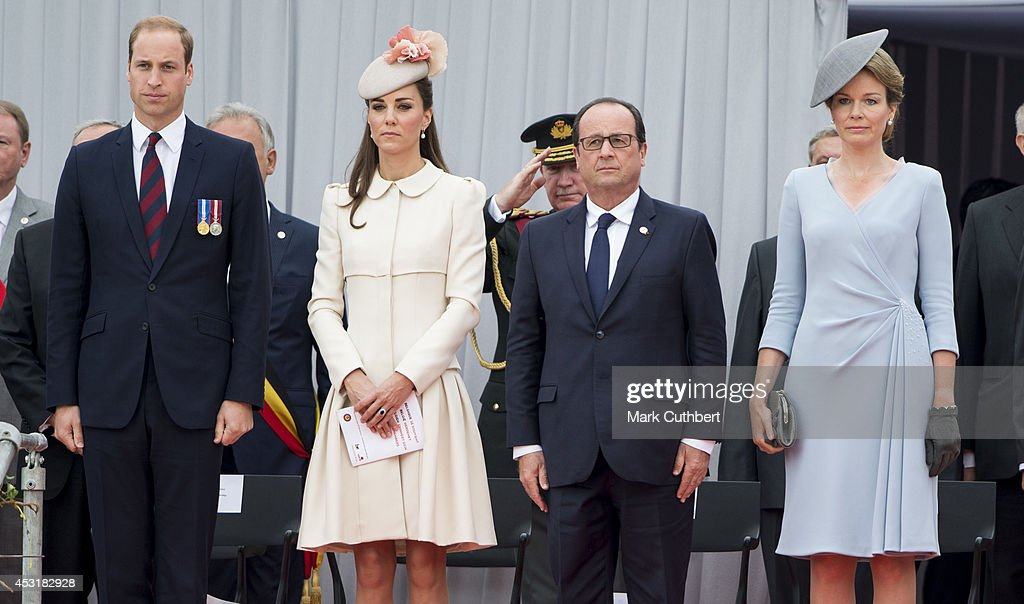 Prince William, Duke of Cambridge and Catherine, Duchess of Cambridge with Queen Mathilde of Belgium and Francois Hollande at Saint Laurent Abbey for a ceremony to mark 100th anniversary of World War 1 on August 4, 2014 in Liege, Belgium.