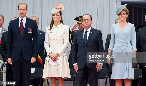 Prince William Duke of Cambridge and Catherine Duchess of Cambridge with Queen Mathilde of Belgium and Francois Hollande at Saint Laurent Abbey for a...