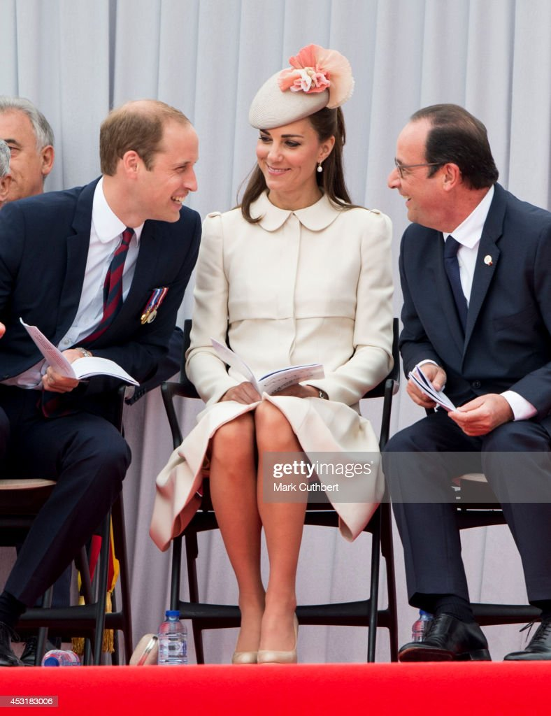 Prince William, Duke of Cambridge and Catherine, Duchess of Cambridge with Francois Hollande at Saint Laurent Abbey for a ceremony to mark 100th anniversary of World War 1 on August 4, 2014 in Liege, Belgium.