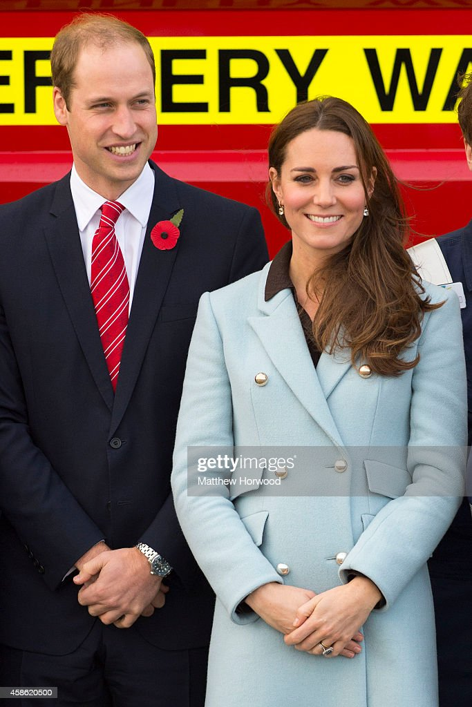 Prince William, Duke of Cambridge and Catherine, Duchess of Cambridge pose as they visit Pembroke Refinery on November 8, 2014 in Pembroke, Wales.