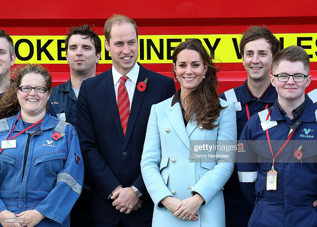 Prince William, Duke of Cambridge and Catherine, Duchess of Cambridge pose as they visit the Valero Pembroke Refinery at Pembroke Refinery on November 8, 2014 in Pembroke, Wales.