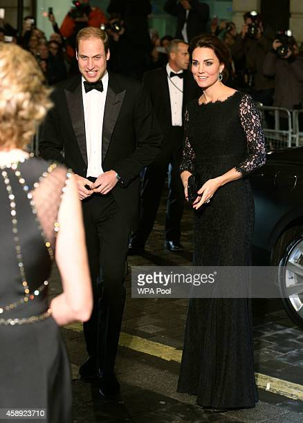 Prince William Duke of Cambridge and Catherine Duchess of Cambridge arrive for The Royal Variety Performance at the London Palladium on November 13...