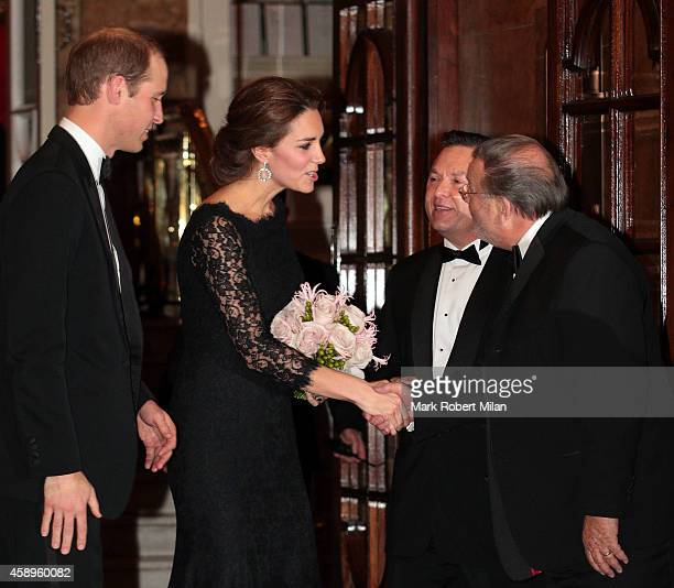 Prince William Duke of Cambridge and Catherine Duchess of Cambridge leaving the Royal Variety Performance at the Palladium Theatre on November 13...