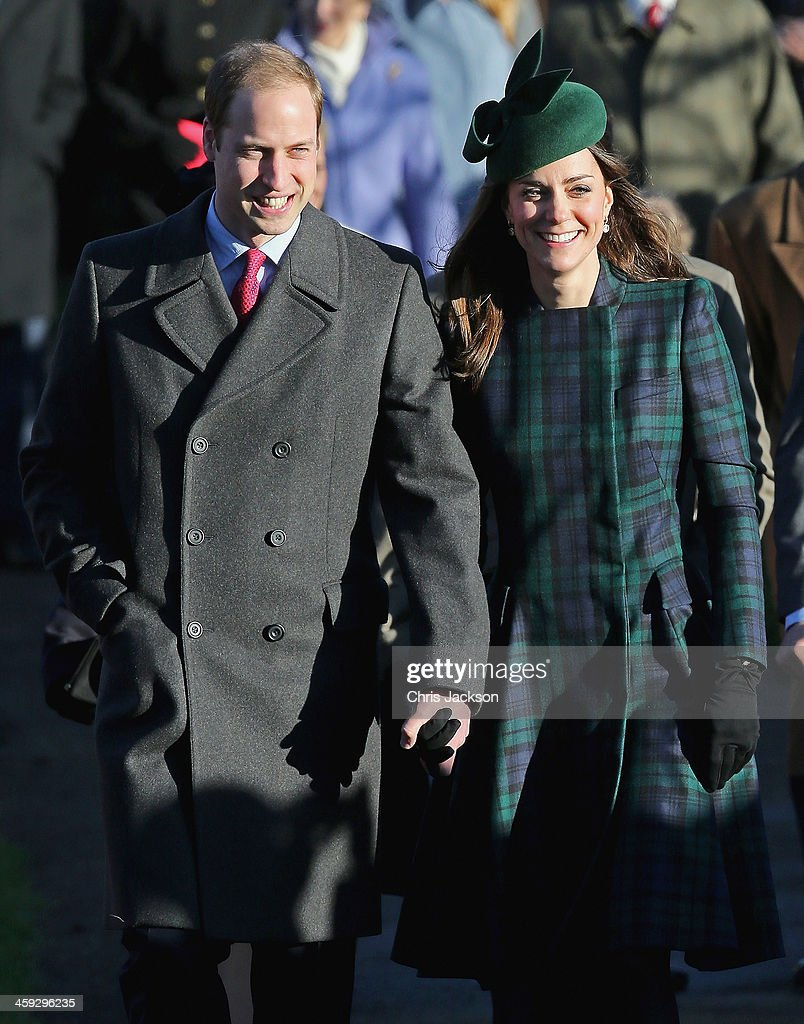 Prince William, Duke of Cambridge (L) and Catherine, Duchess of Cambridge (R) arrive for the Christmas Day service at Sandringham on December 25, 2013 in King's Lynn, England.