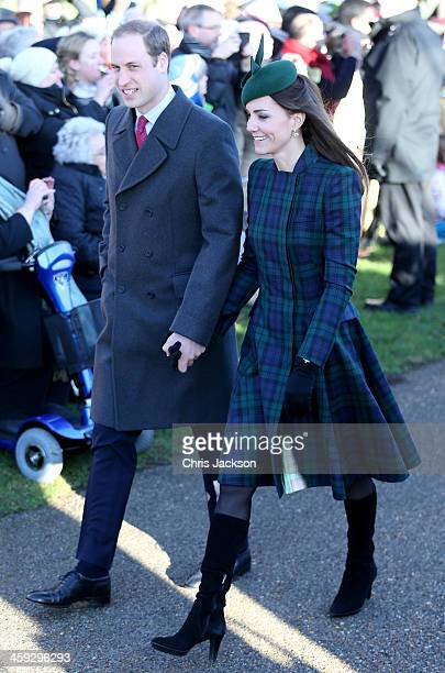 Prince William Duke of Cambridge and Catherine Duchess of Cambridge arrive for the Christmas Day service at Sandringham on December 25 2013 in King's...