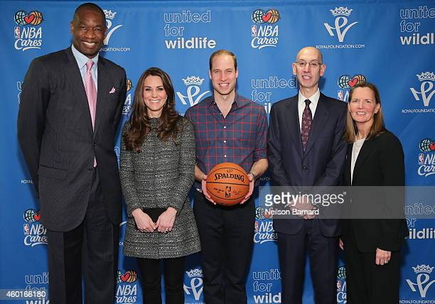 Prince William Duke of Cambridge and Catherine Duchess of Cambridge pose with NBA Commissioner Adam Silver Global Ambassador Dikembe Mutombo and Sr...