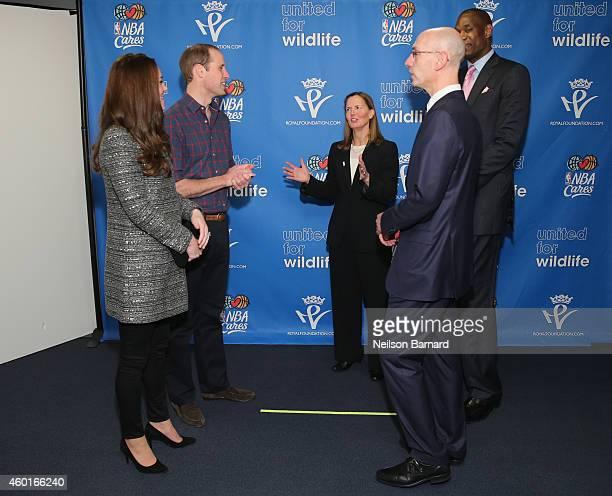 Prince William Duke of Cambridge and Catherine Duchess of Cambridge speak with NBA Commissioner Adam Silver Global Ambassador Dikembe Mutombo and Sr...