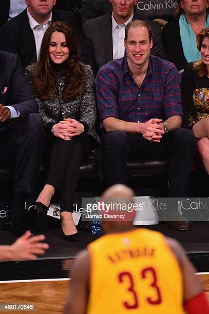 Prince William Duke of Cambridge and Catherine Duchess of Cambridge attend the Cleveland Cavaliers vs Brooklyn Nets game at Barclays Center on...