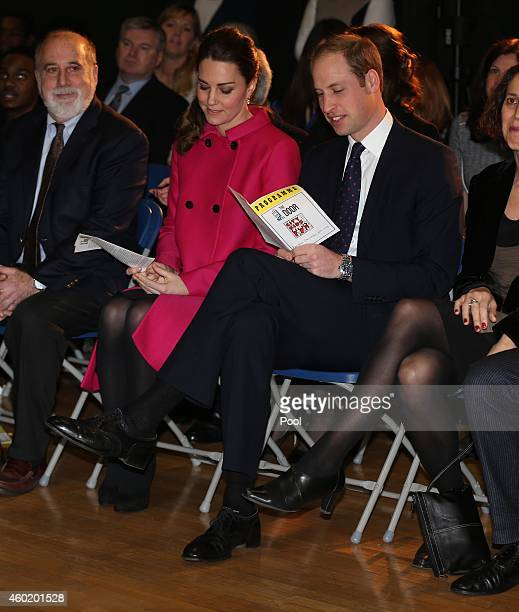 Prince William Duke of Cambridge and Catherine Duchess of Cambridge watch a dance performance during their visit to The Door on December 9 2014 in...