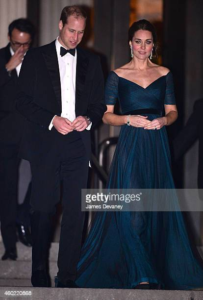 Prince William Duke of Cambridge and Catherine Duchess of Cambridge leave St Andrews 600th Anniversary Dinner at Metropolitan Museum of Art on...