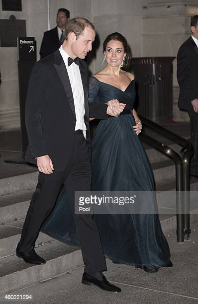 Prince William Duke of Cambridge and Catherine Duchess of Cambridge leave the St Andrews 600th Anniversary Dinner at the Metropolitan Museum of Art...