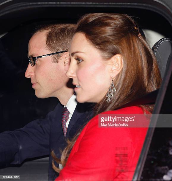 Prince William Duke of Cambridge and Catherine Duchess of Cambridge attend a Christmas lunch for members of the Royal Family hosted by Queen...