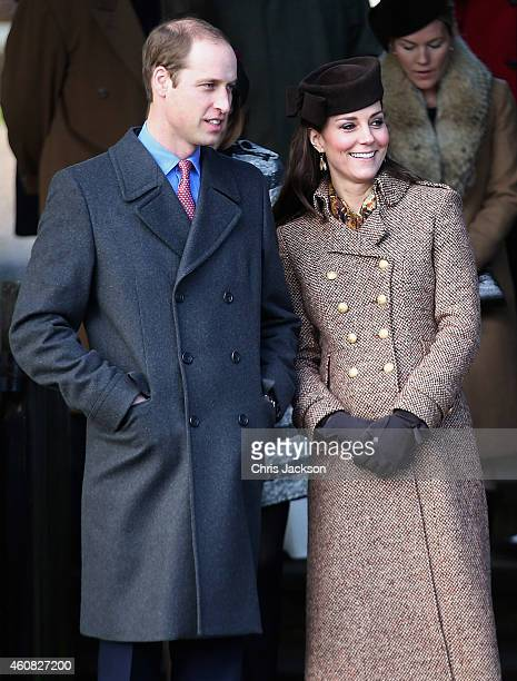 Prince William, Duke of Cambridge and Catherine, Duchess of Cambridge leave the Christmas Day Service at Sandringham Church on December 25, 2014 in...