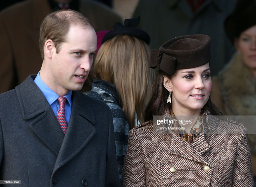 Prince William, Duke of Cambridge and Catherine, Duchess of Cambridge attend a Christmas Day church service at Sandringham on December 25, 2014 in King's Lynn, England.