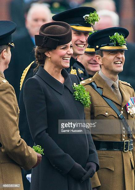 Prince William, Duke of Cambridge and Catherine, Duchess of Cambridge attend the St Patrick's Day Parade at Mons Barracks on March 17, 2015 in...