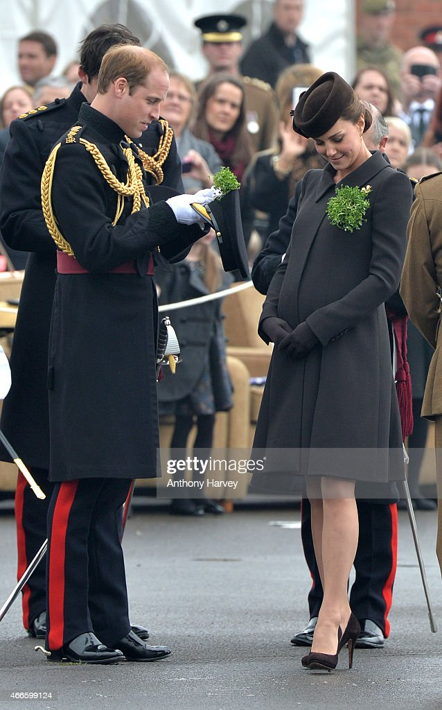 Prince William, Duke of Cambridge and Catherine, Duchess of Cambridge attend the St Patrick's Day Parade at Mons Barracks on March 17, 2015 in Aldershot, England.