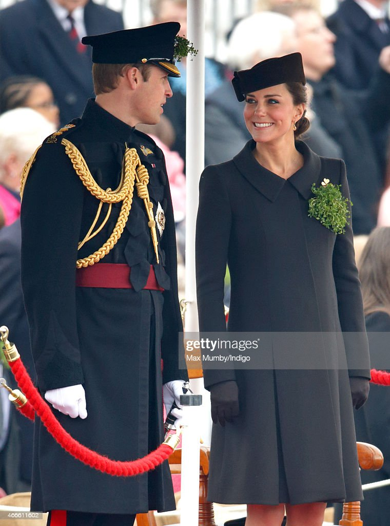 Prince William, Duke of Cambridge and Catherine, Duchess of Cambridge attend the annual St Patrick's Day Parade at Mons Barracks on March 17, 2015 in Aldershot, England.