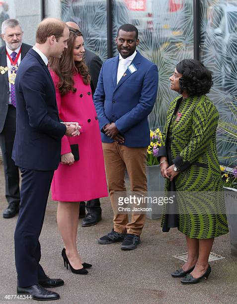 Prince William Duke of Cambridge and Catherine Duchess of Cambridge chat to Baroness Lawrence of Clarendon as they arrive at the Stephen Lawrence...