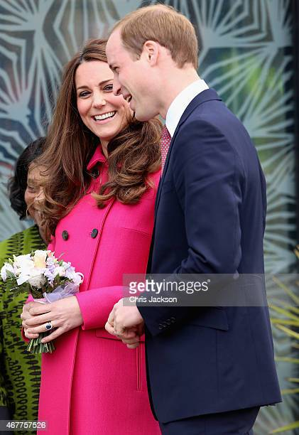 Prince William Duke of Cambridge and Catherine Duchess of Cambridge leave the Stephen Lawrence Centre on March 27 2015 in London England
