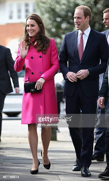 Prince William, Duke of Cambridge and Catherine, Duchess of Cambridge arrive at the XLP Mobile recording Studio on March 27, 2015 in London, England.