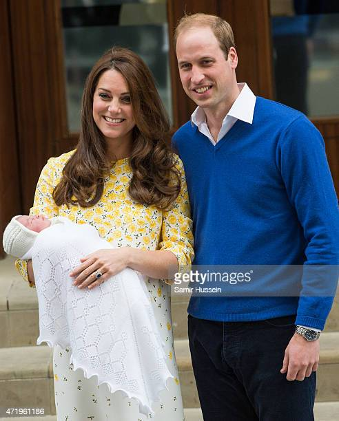Prince William, Duke of Cambridge and Catherine, Duchess of Cambridge depart the Lindo Wing with their new baby at St Mary's Hospital on May 2, 2015...