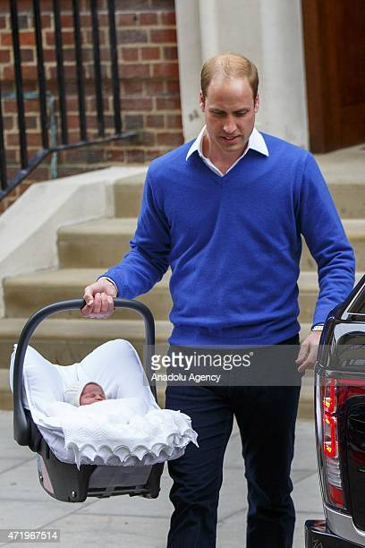 Prince William Duke of Cambridge and Catherine Duchess of Cambridge depart The Lindo Wing with their newborn girl at St Mary's Hospital in London...