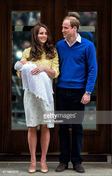 Prince William, Duke of Cambridge and Catherine, Duchess of Cambridge depart the Lindo Wing with their newborn baby daughter at St Mary's Hospital on...