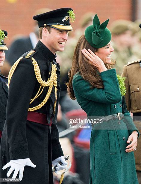 Prince William, Duke of Cambridge and Catherine, Duchess of Cambridge attend the St Patrick's Day parade at Mons Barracks on March 17, 2014 in...