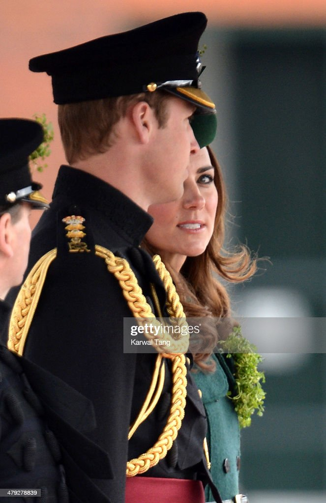 Prince William, Duke of Cambridge and Catherine, Duchess of Cambridge attend the St Patrick's Day parade at Mons Barracks on March 17, 2014 in Aldershot, England.
