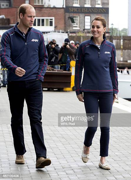 Prince William Duke of Cambridge and Catherine Duchess of Cambridge during a visit to the headquarters of Britain's Land Roverbacked BAR team during...