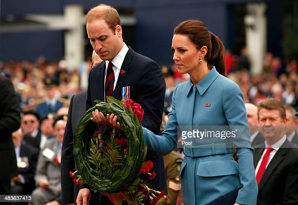 Prince William Duke of Cambridge and Catherine Duchess of Cambridge attend a ceremony at the war memorial in Seymour Square on April 10 2014 in the...