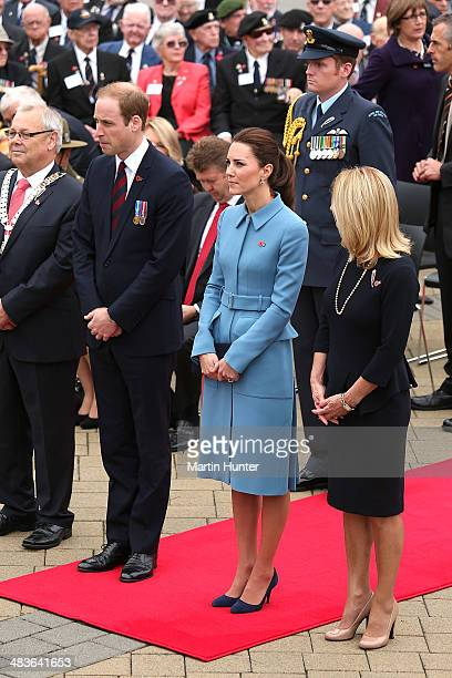 Prince William Duke of Cambridge and Catherine Duchess of Cambridge attend the wreath laying ceremony at the Blenheim War Memorial on April 10 2014...