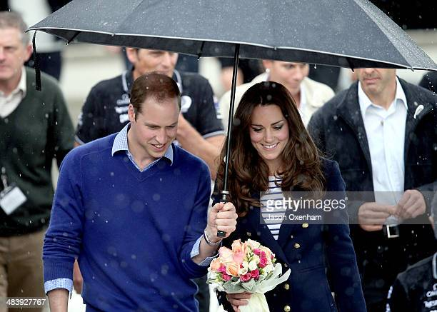 Prince William Duke of Cambridge and Catherine Duchess of Cambridge arrive in the rain at the Viaduct Basin in Auckland on April 11 2014 in Auckland...