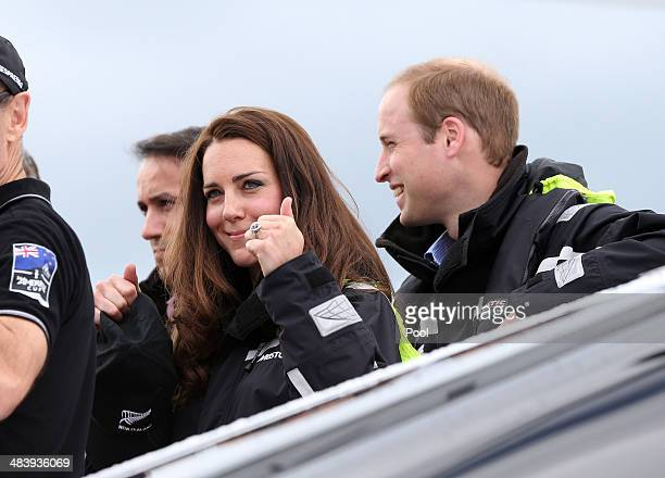 Prince William Duke of Cambridge and Catherine Duchess of Cambridge sail with Team New Zealand at the Viaduct Basin on April 11 2014 in Auckland New...
