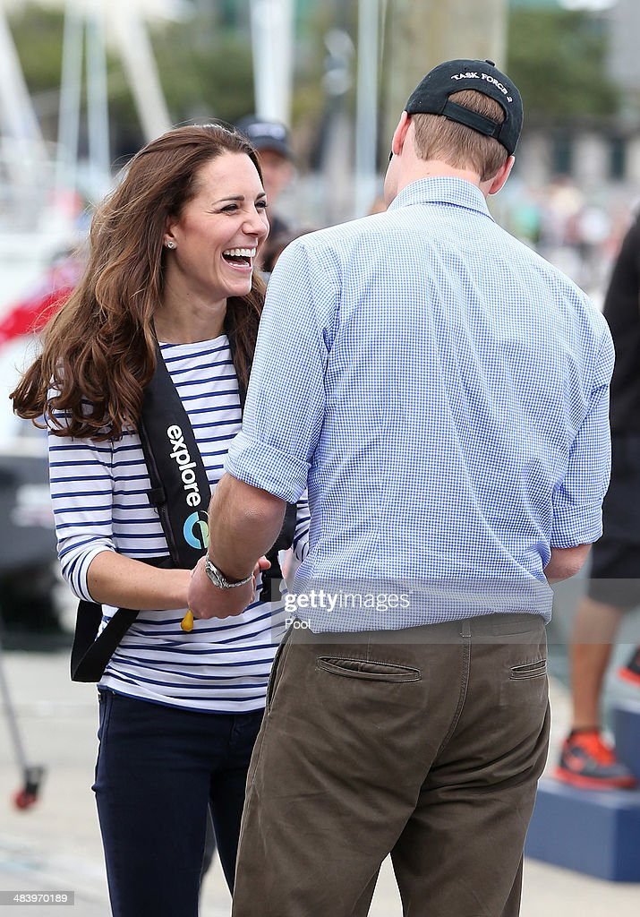 Prince William, Duke of Cambridge and Catherine, Duchess of Cambridge return from sailing where the Duchess and her crew beat Prince William and his crew onTeam New Zealand's yachts at the Viaduct Basin on April 11, 2014 in Auckland, New Zealand. The Duke and Duchess of Cambridge are on a three-week tour of Australia and New Zealand, the first official trip overseas with their son, Prince George of Cambridge.