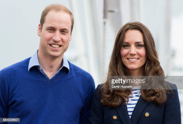 Prince William, Duke of Cambridge and Catherine, Duchess of Cambridge pose ahead of going sailing during their visit to Auckland Harbour on April 11,...