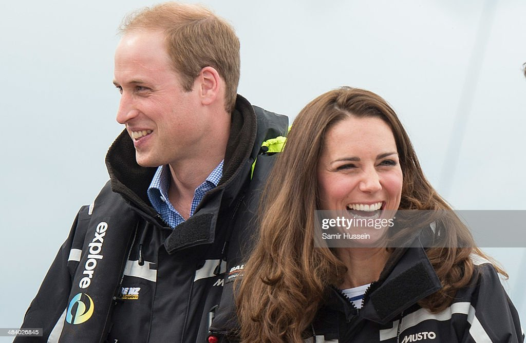 Prince William, Duke of Cambridge and Catherine, Duchess of Cambridge on board 'Sealegs' during their visit to Auckland Harbour on April 11, 2014 in Auckland, New Zealand. The Duke and Duchess of Cambridge are on a three-week tour of Australia and New Zealand, the first official trip overseas with their son, Prince George of Cambridge.