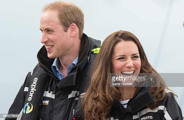 Prince William, Duke of Cambridge and Catherine, Duchess of Cambridge on board 'Sealegs' during their visit to Auckland Harbour on April 11, 2014 in...