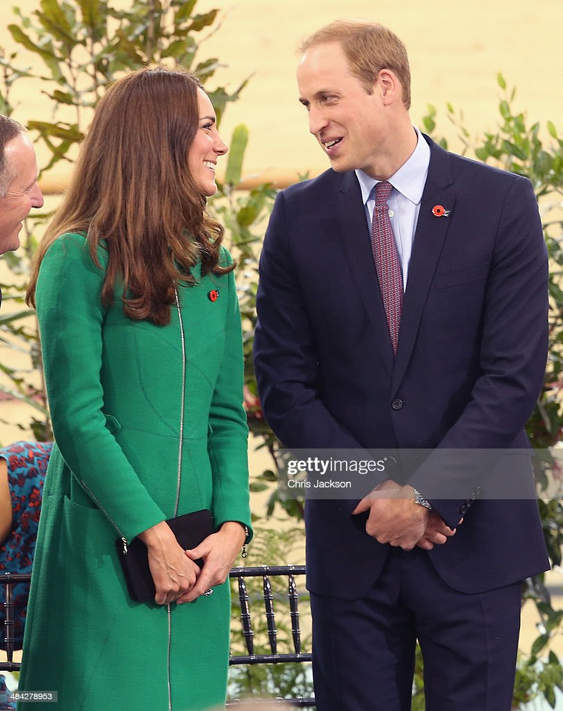 Prince William, Duke of Cambridge and Catherine, Duchess of Cambridge laugh on stage during a visit to the Avanti Drome on April 12, 2014 in Hamilton, New Zealand. The Duke and Duchess of Cambridge are on a three-week tour of Australia and New Zealand, the first official trip overseas with their son, Prince George of Cambridge.