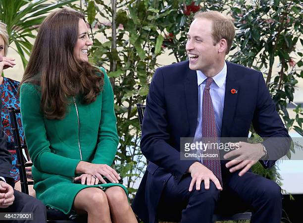Prince William Duke of Cambridge and Catherine Duchess of Cambridge laugh on stage during a visit to the Avanti Drome on April 12 2014 in Hamilton...