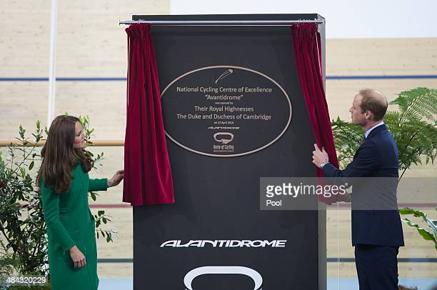 Prince William Duke of Cambridge and Catherine Duchess of Cambridge unveil a plaque during a visit to the Avantidrome on April 12 2014 in Hamilton...
