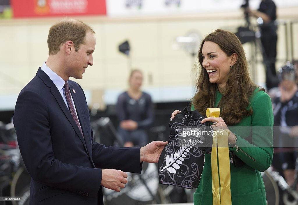 Prince William, Duke of Cambridge and Catherine, Duchess of Cambridge are presented with an Avanti cycling jersey for Prince George of Cambridge during a visit to the Avanti Drome on April 12, 2014 in Hamilton, New Zealand. The Duke and Duchess of Cambridge are on a three-week tour of Australia and New Zealand, the first official trip overseas with their son, Prince George of Cambridge.