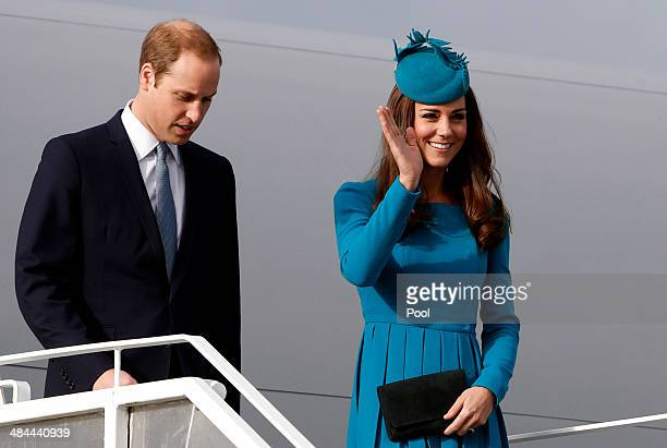Prince William Duke of Cambridge and Catherine Duchess of Cambridge arrive at Dunedin International Airport on April 13 2014 in Dunedin New Zealand...