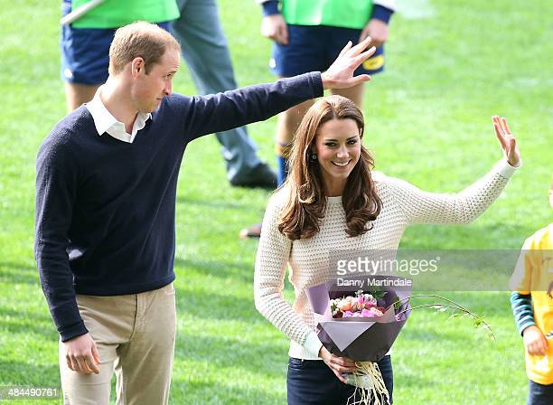 Prince William Duke of Cambridge and Catherine Duchess of Cambridge attend a Rippa Rugby tournament at Forsyth Barr Stadium on April 13 2014 in...