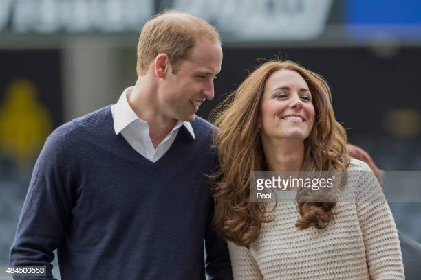 Prince William, Duke of Cambridge and Catherine, Duchess of Cambridge attend 'Rippa Rugby' in the Forstyth Barr Stadium on day 7 of a Royal Tour to...