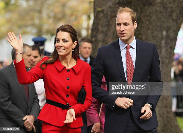 Prince William Duke of Cambridge and Catherine Duchess of Cambridge wave to the crowds during the countdown to the 2015 ICC Cricket World Cup at...