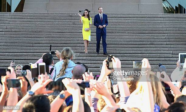 Prince William, Duke of Cambridge and Catherine, Duchess of Cambridge greet the crowds of public outside Sydney Opera House on April 16, 2014 in...